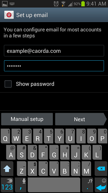email setup screen on samsung galaxy phone