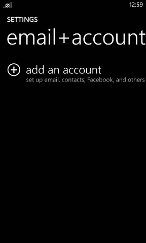 Windows phone email account setup step 2