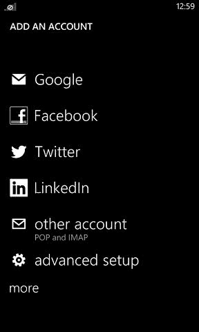 Windows phone add other email account screen