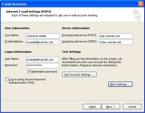 Email account settings in Office Outlook 2003