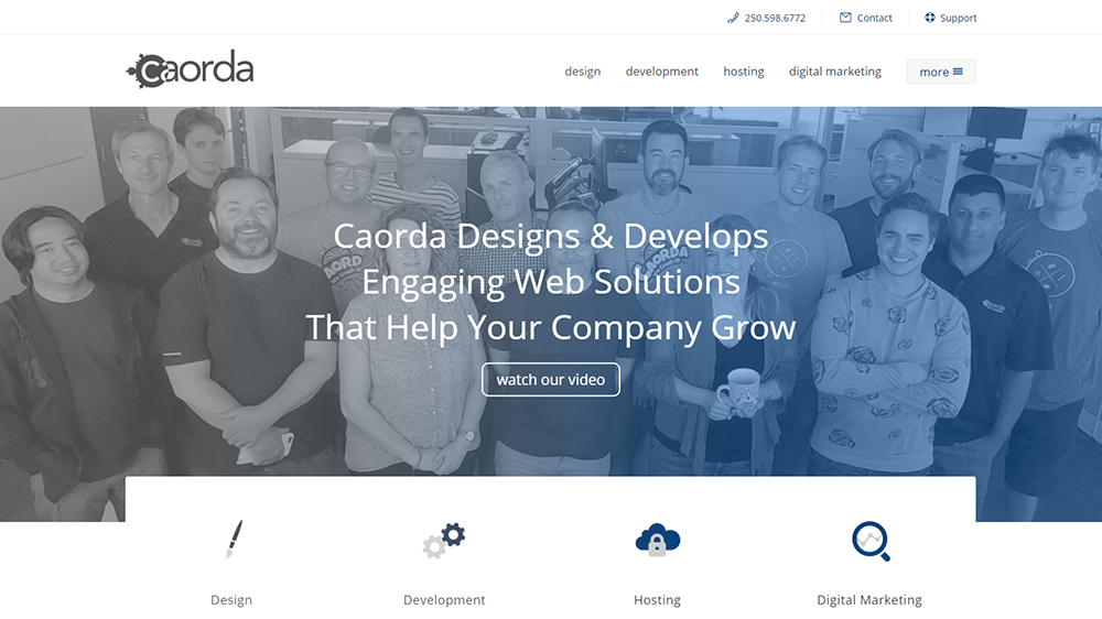 Screenshot of Caorda home page