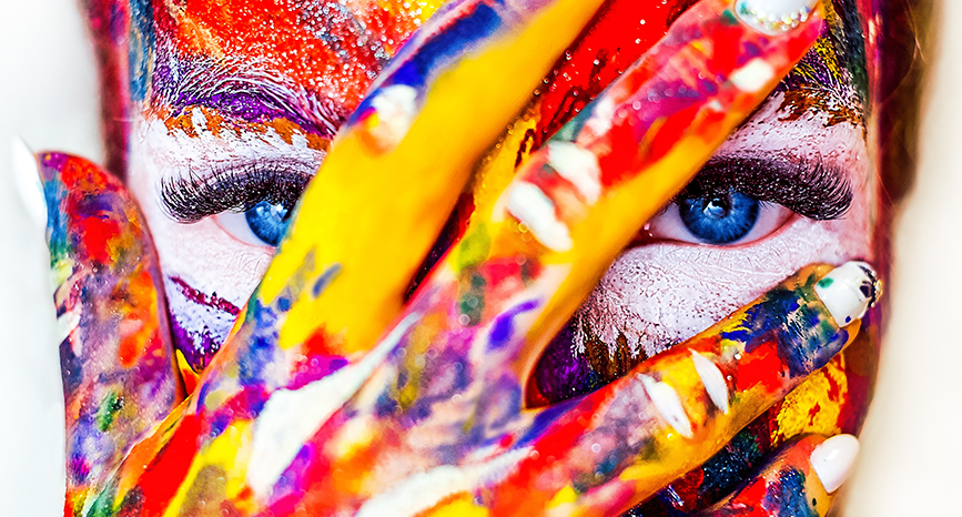 Woman with paint-splattered face