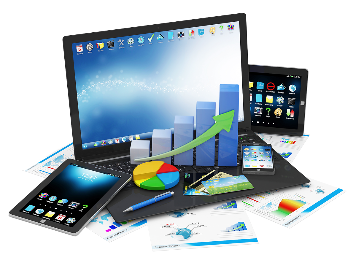 laptop-with-business-graph-pie-chart-smartphone-tablet-financial-reports